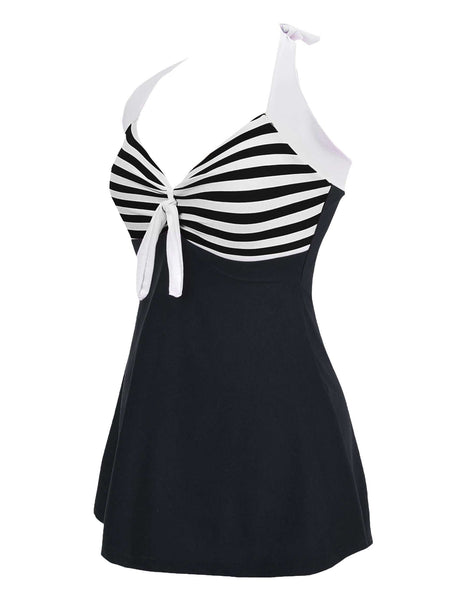 Retro Striped Hit One-piece Swimsuit