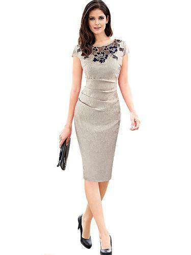 Rose Embroidery O-Neck Bodycon Dress-Dress-2ubest.com-2UBest.com
