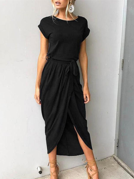 Round Collar One Piece Front Split Dress-Dress-2UBest.com-Black-S-2UBest.com