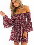 Off Shoulder Floral Printed Horn Sleeve Dress-Dress-2ubest.com-Red-S-2UBest.com