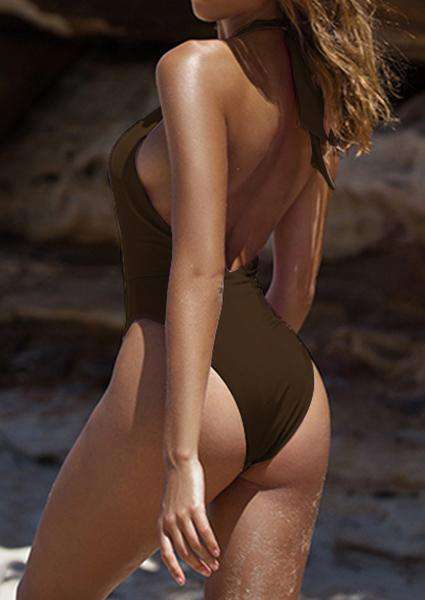 Backless Cross Halter Backless Swimsuit- Roupas de banho-2ubest.com-2UBest.com