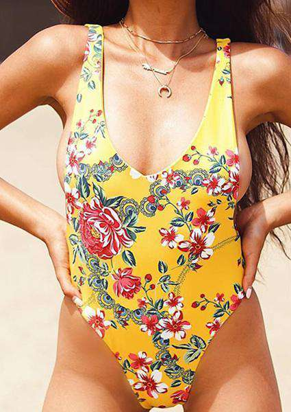 Floral Printing Backless One-Piece Swimsuit-Swimsuits-2ubest.com-2UBest.com