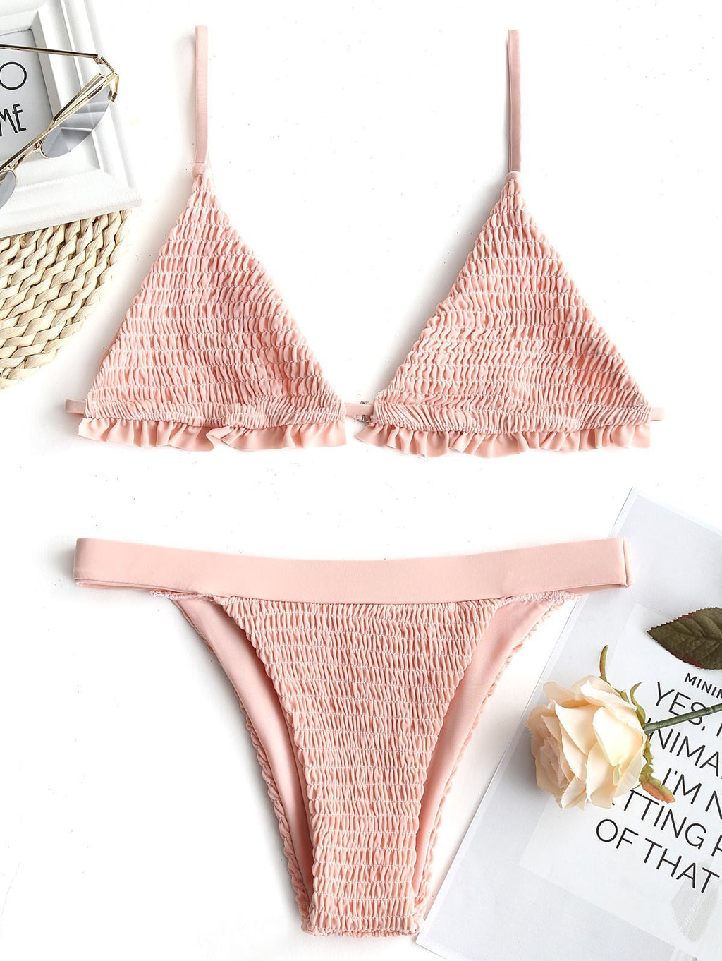Sexy Pleated Triangle Bikini