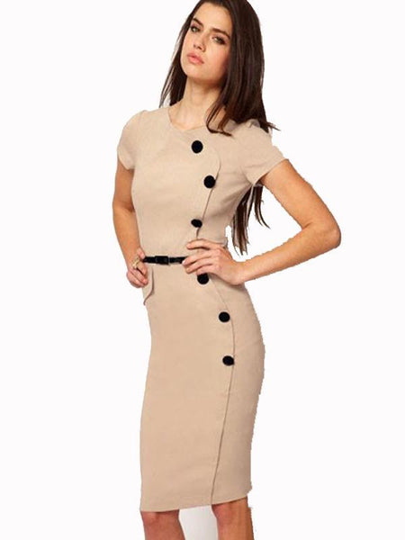Short Sleeve Elegant Bodycon Dress