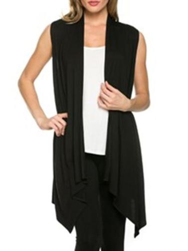 Sleeveless Pure Color Cardigan