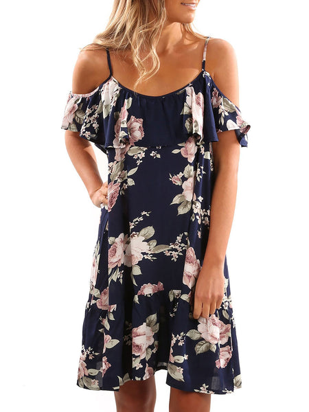 Slip Off Shoulder Floral Printed Dress