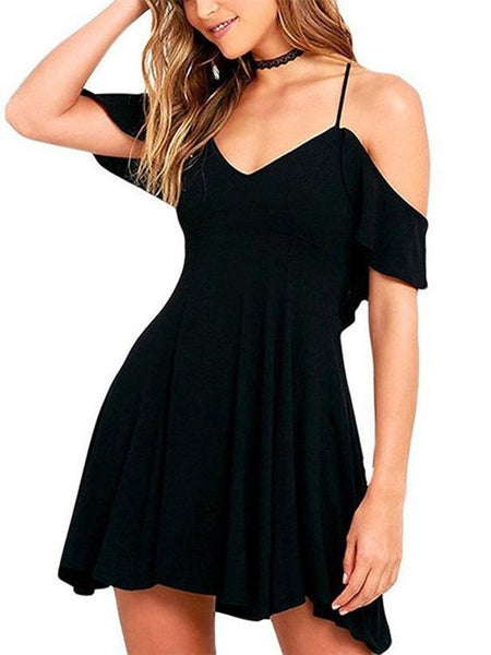 Slip Off Shoulder Solid Color Dress