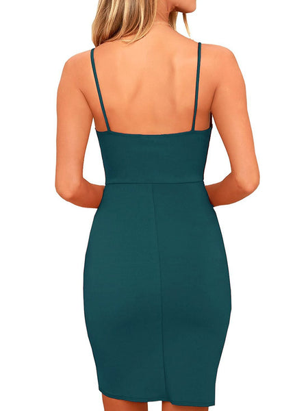 Deslizamento cor sólida Bodycon Halter Dress