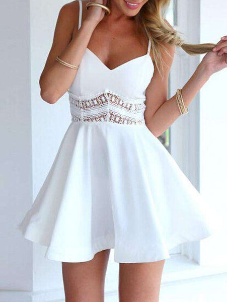 Slip Solid Color Lace Dress