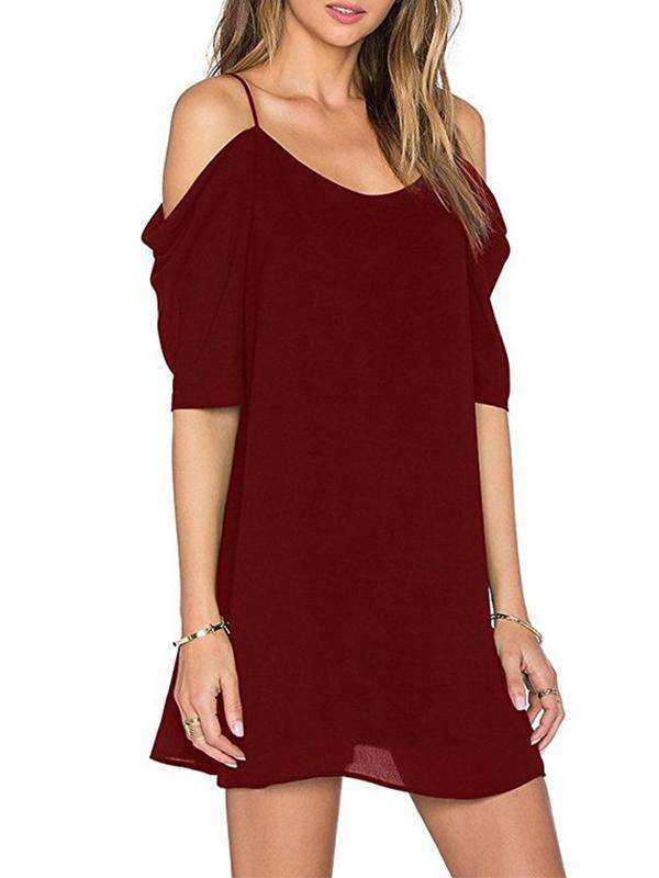 Slip Solid Color Loose Dress