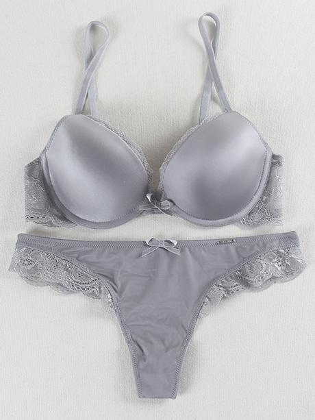 Smooth Lace Push Up Solid Sexy Bra Set