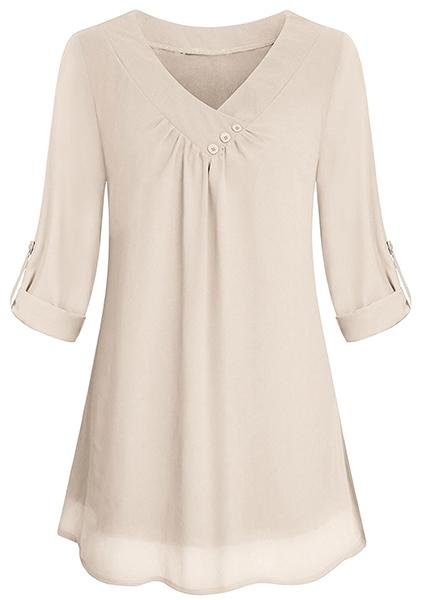 Solid Chiffon Button V-neck Blouse