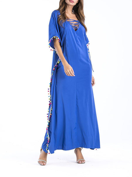 Solid Color Batwing Sleeve Dress