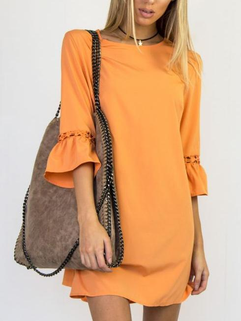 Solid Color Flounce Sleeve Dress-Mini Dress-2UBest.com-Oringe-S-2UBest.com