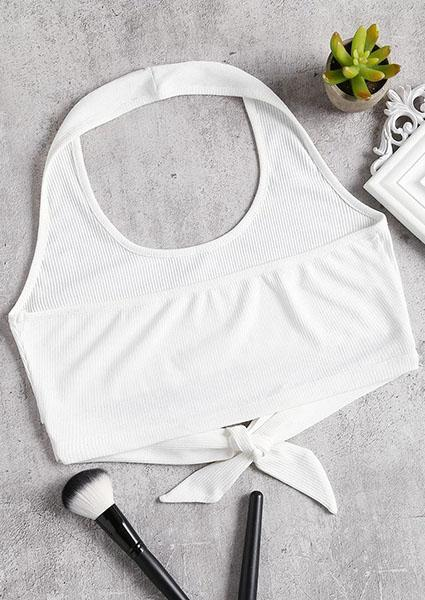 Solid Color Halter Strap Crop Tops