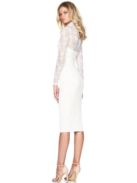Renda de cor sólida Bodycon Dress-Lace Dress-2UBest.com-White-S-2UBest.com