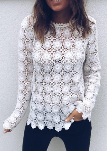 Solid Color Lace Hollow Sexy Blouse