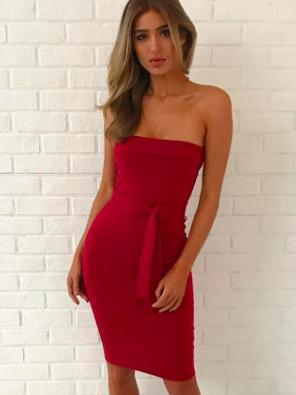 Solid Color Off Shoulder Dress