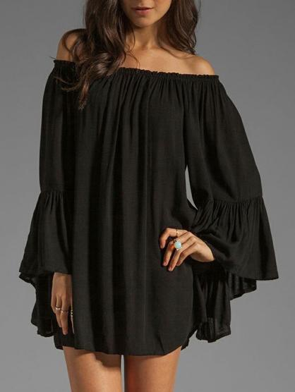 Solid Color Off Shoulder Loose Dress