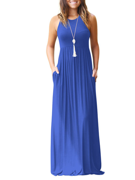 Solid Color Pleated Loose Dress