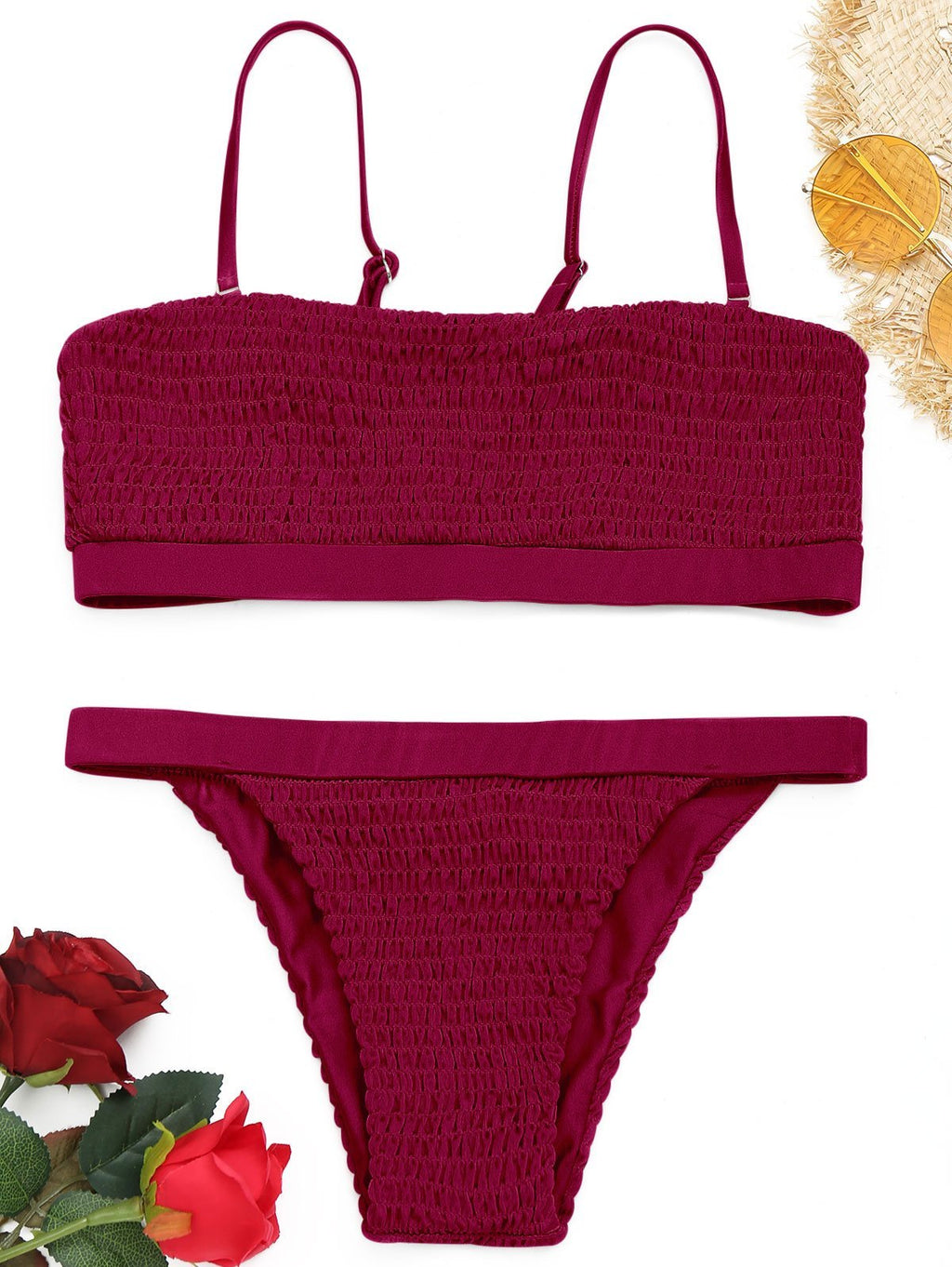 Solid Color Sexy Pleated Bikini