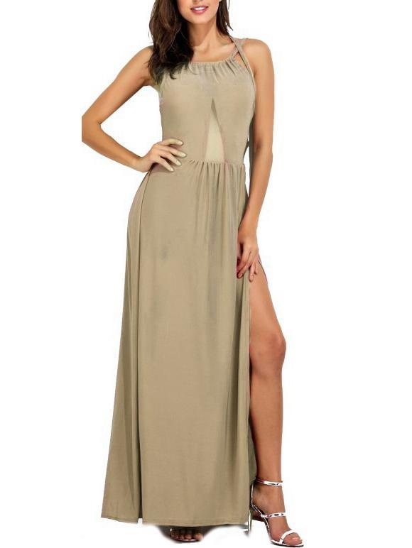 Solid Color Slip Halter Dress