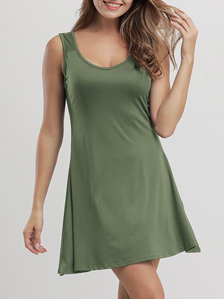 Solid Color Slip O-Neck Dress