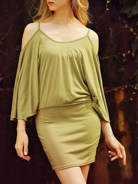 Solid Color Slip Off Shoulder Dress