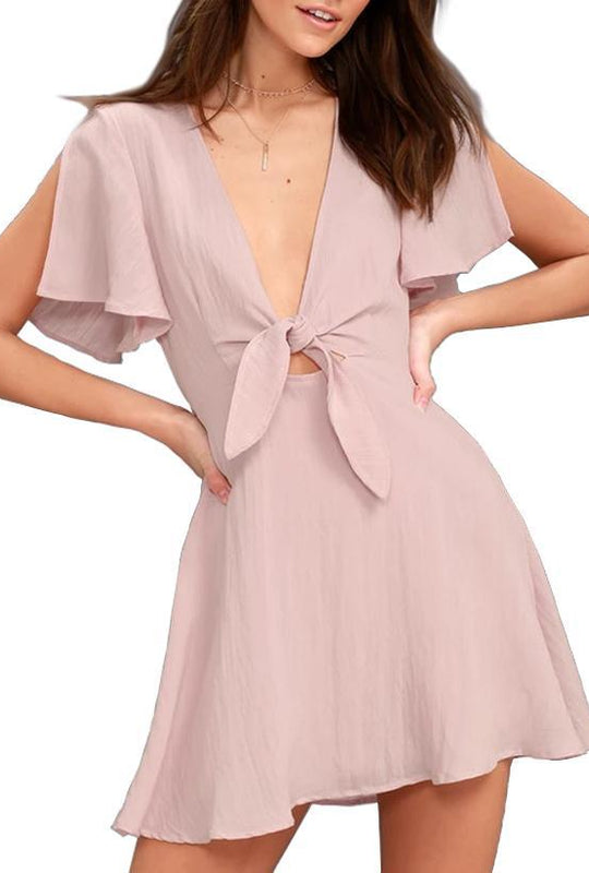Solid Color V-Neck Front Tied Chiffon Dress