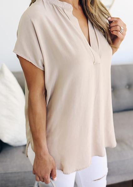 Solid Color V-neck Casual Blouse
