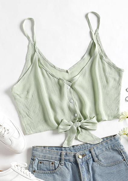 Solid Color V-neck Halter Sexy Crop Tops