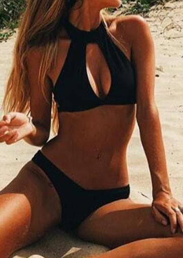 Solid Hollow Out Bikini Set