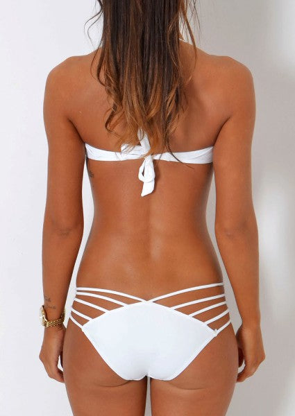 Solid Hollow Out Strappy Bikini Set