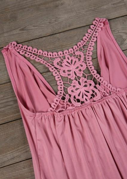 Solid Lace Floral Draped Tank