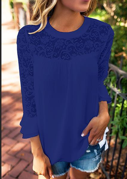 Solid Lace Floral Splicing One Shoulder Blouse