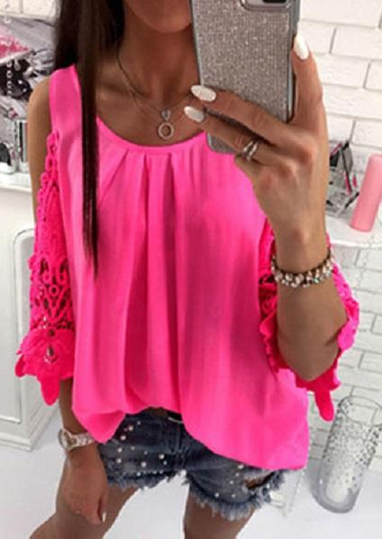 Solid Splicing Cold Shoulder Blouse without Necklace