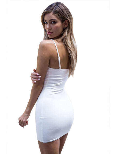 Solid Split Sleeveless Bodycon Dress-Dress-2ubest.com-2UBest.com