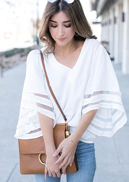 Solid Trumpet Sleeve Splicing Chiffon V-neck Blouse