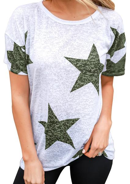 Star Printed Graphic T-Shirt Tops Tees