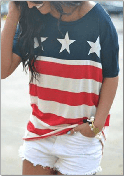 Star Printed Striped O-Neck T-Shirt