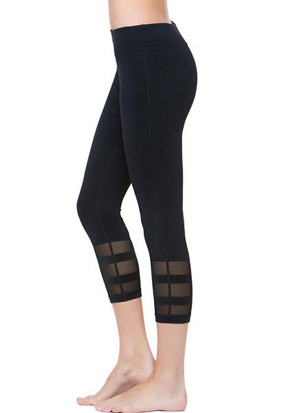 Stretchy Mesh Patchwork Yoga Capris Pants