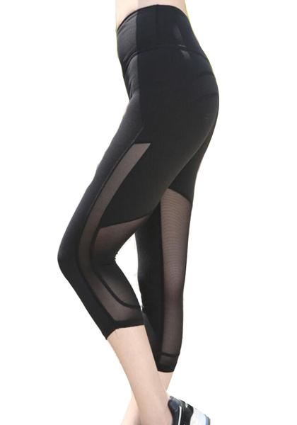 Stretchy Skinny Mesh Workout Yoga Capris Leggings