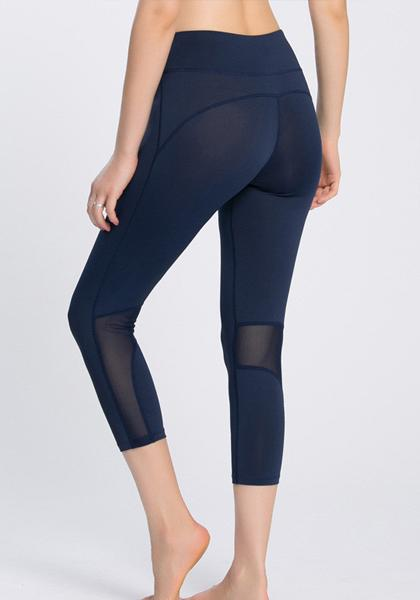 Stretchy Solid Color Mesh Workout Yoga Leggings