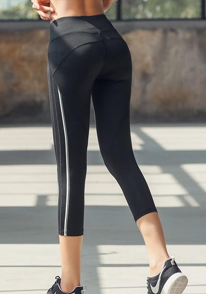 Stripe Quick-drying Workout Yoga Capris Leggings