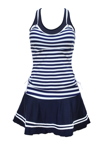 Stripe Stitching Large Size Swimsuit