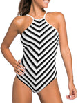 Striped Halter Backless Sexy One-piece Swimsuit
