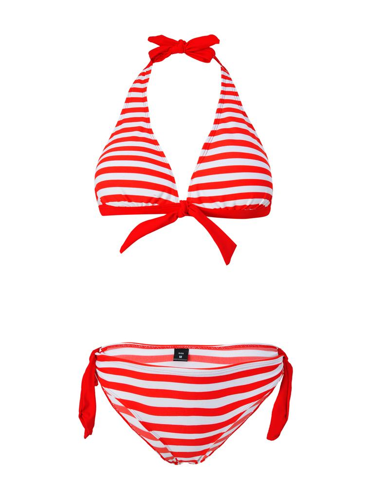 Striped Halter Bow Sexy Bikini Set