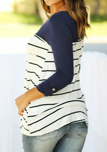 Striped Lace Splicing Pocket Tab-Sleeve T-Shirt