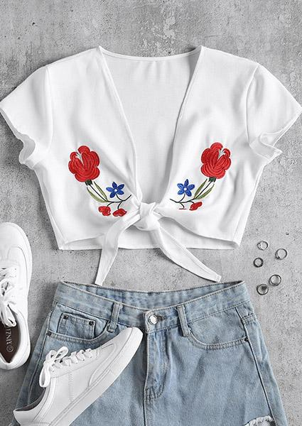 Summer Flower Printing Short Shirt