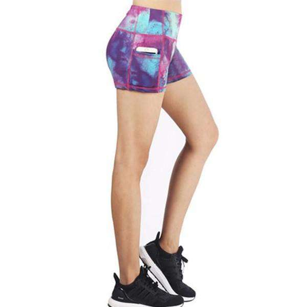 New! Quick-dry Printed Hot Pants With Pocket